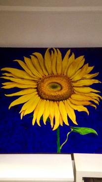 Schwarz, Naturalistisch, Sonnenblumen, Malerei