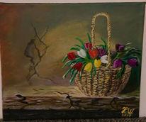 Blumen, Malerei, Korb, Acrylmalerei