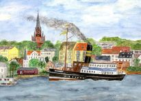Dampfschiff, Segelboot, Schleswig holstein, Zeichnung