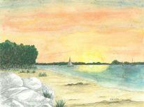 Segelboot, Sonnenuntergang, Flensburger förde, Strand