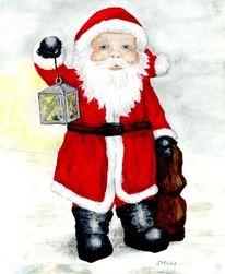 Weihnachten, Santa, Weihnachtsmann, Aquarell