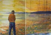 Abendstimmung, Wasser, Mann, Landschaftsmalerei