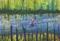 Fluss, Acrylmalerei, Landschaftsmalerei, Wald