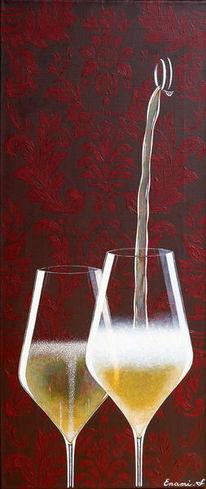 Sekt, Weinglas, Schaumwein, Acrylmalerei