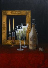 Kerzen, Sekt, Spiegel, Weinflasche