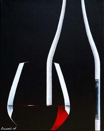Weinflasche, Acrylmalerei, Rotwein, Wein