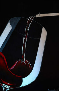 Acrylmalerei, Rot, Weinglas, Weinflasche