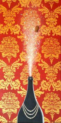 Sekt, Acrylmalerei, Barock, Rot schwarz