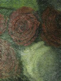 Malerei, Ölmalerei, Rose, Folie