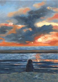 Insel, Landschaftsmalerei, Sonnenuntergang, Strand