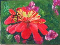 Rot, Käfer, Blüte, Enkaustik