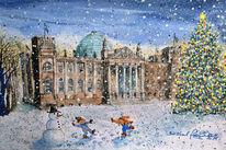 Reichstag, Weihnachtsbaum, Winter, Aquarellmalerei