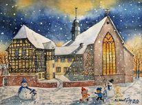Fachwerk, Schnee, Weihnachten, Marienkirche