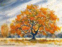Herbstbaum, Isernhagen, Herbst, Aquarell