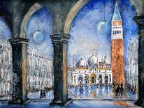 Aquarellmalerei, Venedig, Kirche, Italien