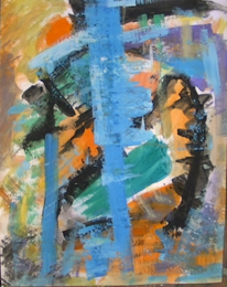 Informel, Abstrakte malerei, Coelinblau orange grün, Malerei