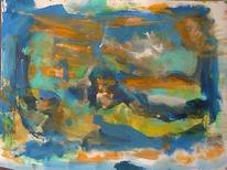 Landschaft, Abstrakte malerei, Blauorange, Abstrakter expressionismus