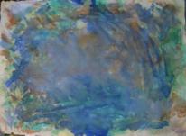 Gouachemalerei, Informel, Blau, Terra di siena