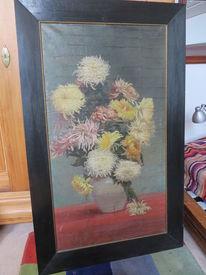 Faubert, Dunkler horzrahmen, Rot, Blummenvase und chrysantemen