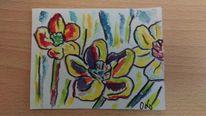 Malerei, Abstrakt, Blumen, Aquarell