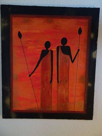 Menschen, Frau, Abstrakt, Afrika