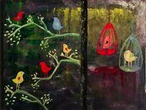 Vogel, Natur, Ölmalerei, Kontrast