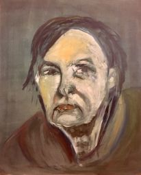 Obdachlosigkeit, Alte frau ölmalerei, Portrait, Malerei