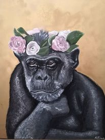 Affe, Blumenkranz, Acrylmalerei, Rosa