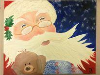 Weihnachtsmann, Teddybär, Weihnachten, Malerei