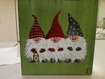 Wichtel, Ölmalerei, Weihnachten, Malerei
