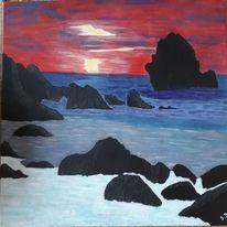 Sonnenuntergang, Meer, Felsen, Malerei