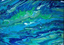 Blau, Weiß, Grün, Malerei