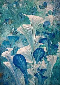 Weiß, Blau, Blumen, Malerei