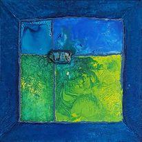 Glas, Blau, Fusing, Malerei