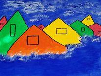 Haus, Sommer, Wasser, Malerei