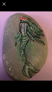 Zeichenstift, Acrylmalerei, Meerjungfrau, Stein
