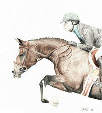 Pferde, Springreiten, Buntstiftzeichnung, Zeichnungen