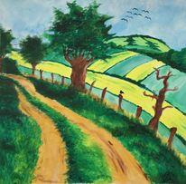 Wegesrand, Grün, Baum, Acrylmalerei