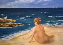Strand, Landschaft, Möwe, Wasser