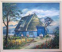 Darß, Landschaft malerei, Fischerhütte, Ostsee
