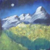 Mond, Nacht, Stern, Alpen