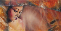 Frau, Landschaft, Portrait, Sehnsucht