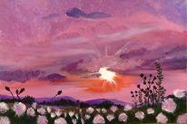 Wolken, Malerei, Sonnenuntergang, Natur