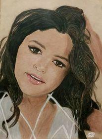 Zeichnung, Frau, Sängerin, Selena gomez