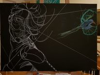Schwarzweiß, Frau, Portrait, Zeichnungen