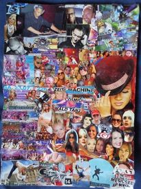 Techno, Musik, Bunt, Collage