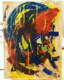 Blau, Acrylmalerei, Malerei modern, Acryl auf papier