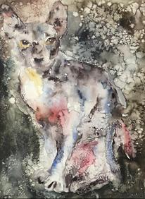 Aquarellmalerei, Malerei, Katze, Expressionismus
