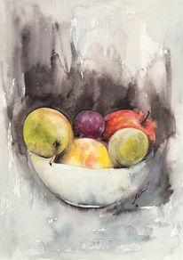 Realismus, Aquarellmalerei, Stillleben, Früchte