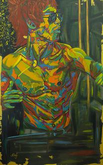 Abstrakt, Portrait, Grün, Figur